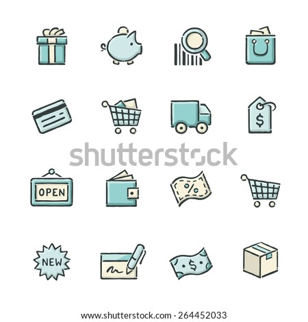 Hand drawn blue and beige shopping icons. File format is EPS8. - stock vector