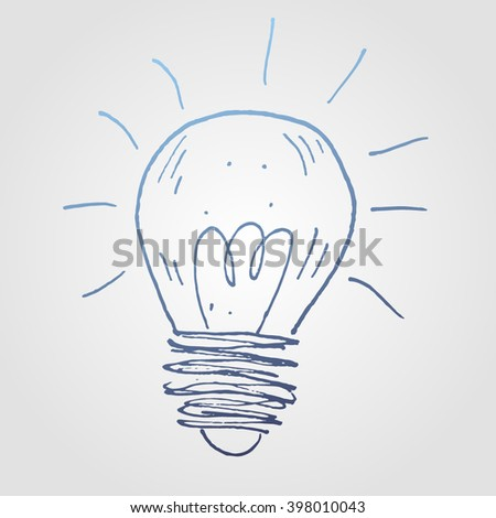 Hand drawn blue vector light bulb. Sketch style - stock vector