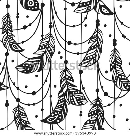 Hand drawn boho illustration. Hand drawn seamless pattern with Bohemian Feathers. Hand drawn illustration. Creative black contour art-work. Ink Illustration Feathers. Bohemian chic style - stock vector
