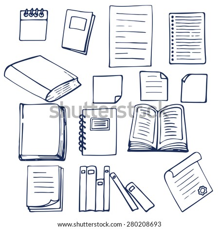 Hand drawn book, documents, notebook and sheets of paper. Vector illustration - stock vector