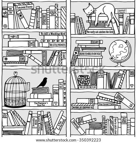 Hand drawn bookshelf with sleeping cat - black and white - stock vector