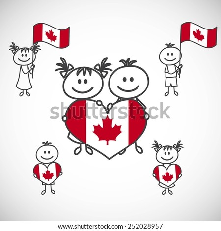 hand-drawn boy and girl holding flag on a white background, cartoon doodle. Canada - stock vector