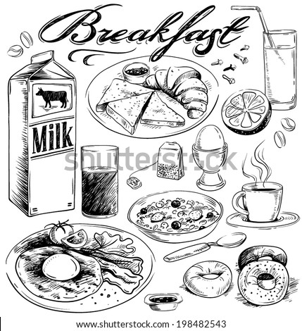 hand-drawn breakfast food illustration - stock vector