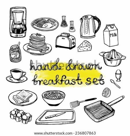 hand drawn breakfast set - stock vector