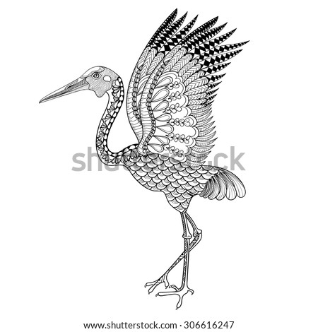 Hand drawn Brolga, Australian crane illustration for anti stress Coloring Page with high details isolated on white background, in zentangle style. Vector monochrome totem sketch. Bird collection. - stock vector