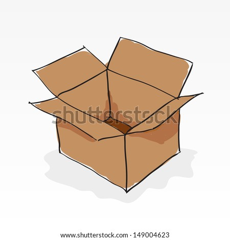 Hand drawn brown paper box on white - stock vector
