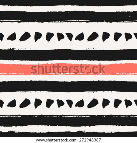 Hand drawn brush strokes seamless pattern. Abstract hand painted repeat texture in black and coral red. - stock vector