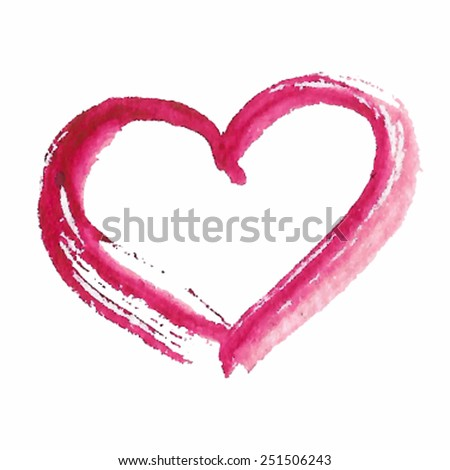 Hand drawn brush watercolor pink isolated heart on white background. Vector trace romantic illustration for valentine's day, eps10. Decorative sketched icon for design, greeting card, scrapbook, print - stock vector