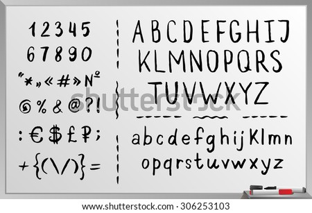 Hand drawn brushed alphabet, black font, letters. Handwritten. Isolated on white background - stock vector