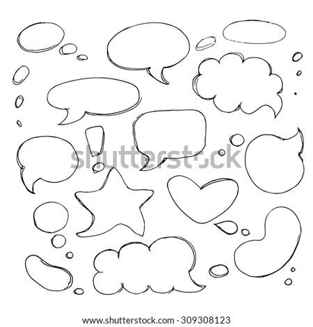 Hand drawn bubble speech set. - stock vector