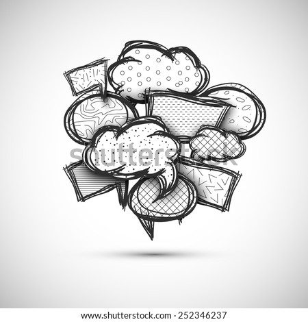 hand drawn bubble speech vector illustration - stock vector