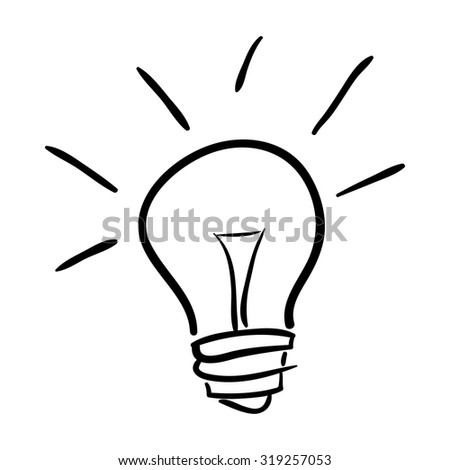 Hand drawn bulb isolated on white background, vector illustration - stock vector