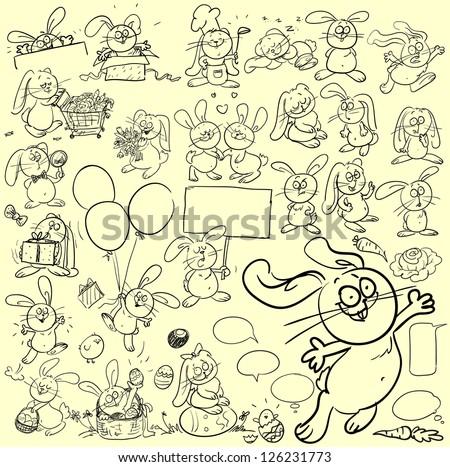 Hand drawn bunnies, rabbits, cartoon characters set, sketch - stock vector