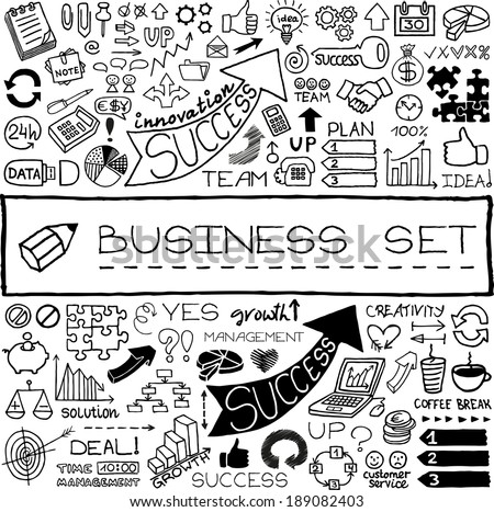 Hand drawn business icons set. Includes arrows, diagrams, puzzle pieces, thumbs up, money, key to success concept and more. Vector illustration. - stock vector