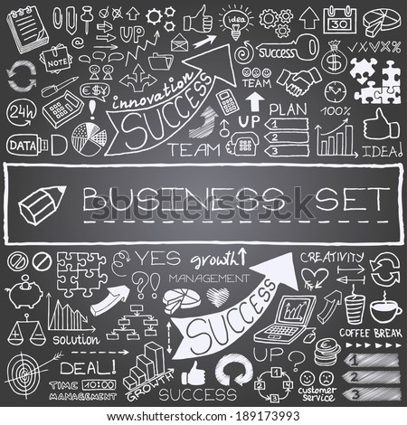 Hand drawn business icons set. Includes arrows, diagrams, puzzle pieces, thumbs up, money, key to success concept and more. Chalkboard effect. Vector illustration. - stock vector