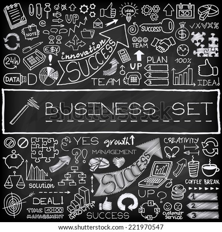 Hand drawn business icons set with arrows, diagrams, puzzle pieces, thumbs up and more.  Chalkboard effect. Vector Illustration. - stock vector
