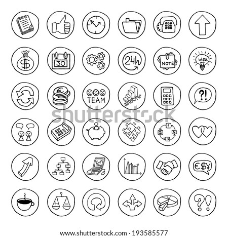 Hand drawn business set of buttons with arrows, diagrams, puzzle pieces, thumbs up and more. Vector illustration.  - stock vector