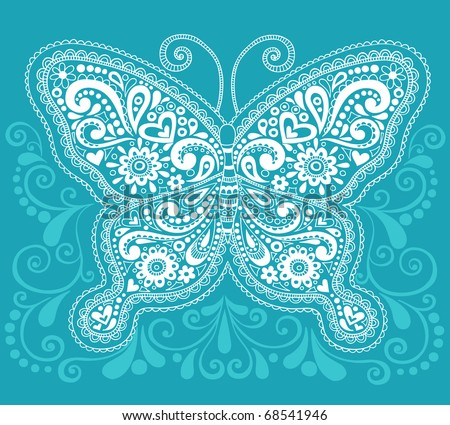 Hand-Drawn Butterfly Henna / Mehndi Paisley Doodle Vector Illustration Design Element - stock vector