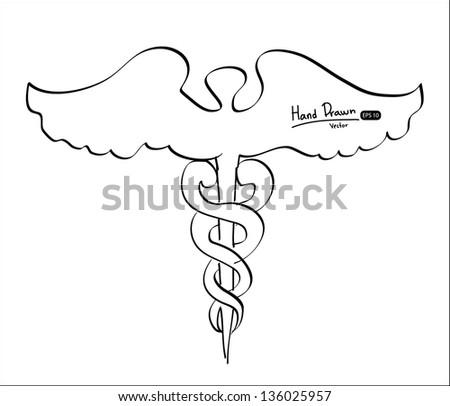 Hand drawn Caduceus,Vector illustration. - stock vector