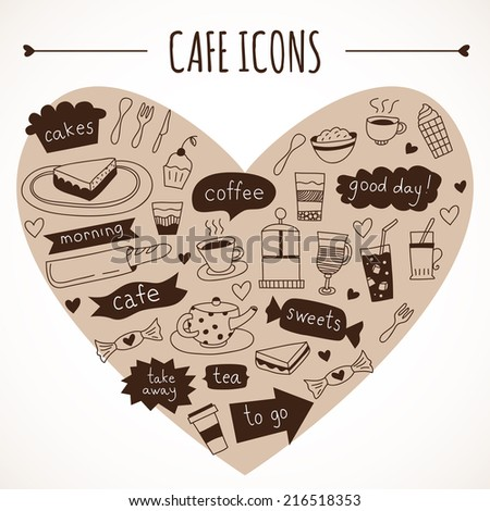 Hand drawn cafe icons: food and drink, made in vector - stock vector