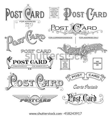 hand drawn calligraphic design elements/headers for postcard backsides - stock vector