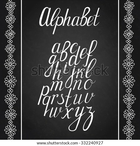 Hand drawn calligraphic font - stock vector