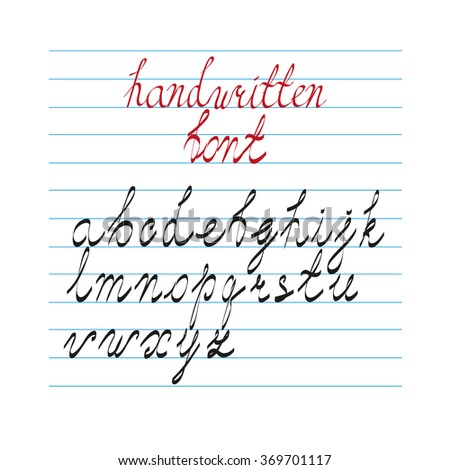 Hand drawn calligraphic style alphabet set. Modern handwritten cursive font in lower case. Elements isolated for easy editing - stock vector