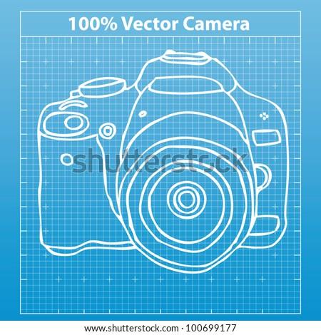 hand drawn camera - stock vector