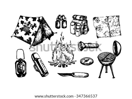 hand drawn camping stuff illustration - stock vector