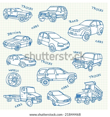 Hand-drawn car doodles. Click on my name below to see a huge collection of doodles. - stock vector