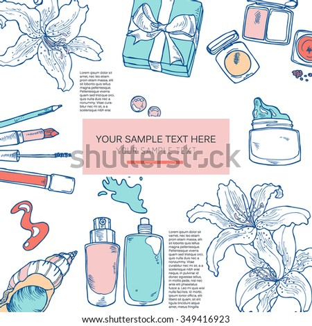 Hand drawn card with cosmetics and flowers in vector - stock vector