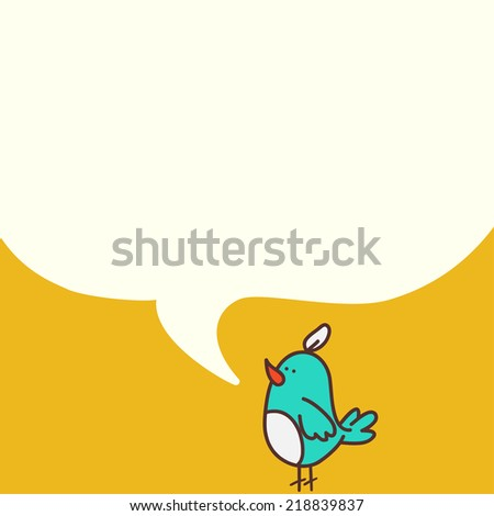 Hand drawn cartoon bird with a speech bubble on yellow background. - stock vector