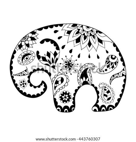 Elephant Zentangle Coloring Page Stock Photos Images