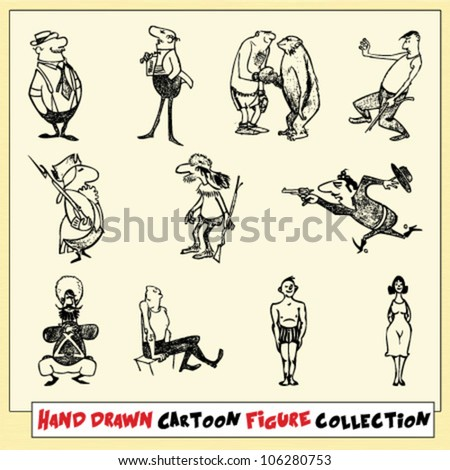 Hand drawn cartoon figure collection in black on light yellow background - stock vector