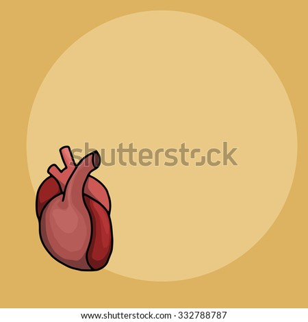 Hand drawn cartoon heart, vector illustration - stock vector