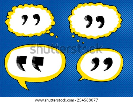 Hand drawn cartoon quotation marks in dialog bubbles - stock vector
