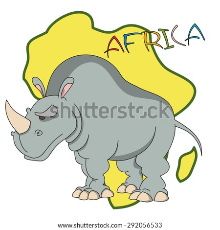 """Hand drawn cartoon rhinoceros with African continent silhouette as a background and """"Africa"""" lettering. - stock vector"""