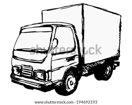 hand drawn, cartoon, sketch illustration of small truck - stock vector