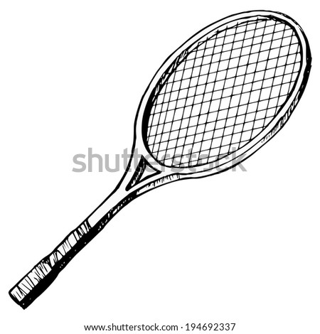 hand drawn, cartoon, sketch illustration of tennis bat - stock vector