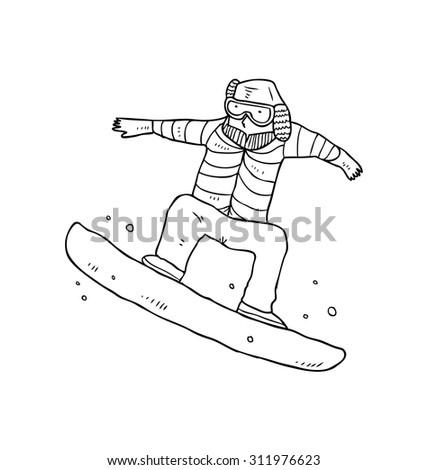 hand drawn cartoon skiing - stock vector