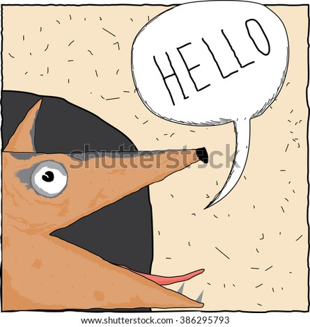 hand drawn cartoon smart fox head with speech bubble sitting on her hole / funny fox say hello square icon / vector illustration can be used as decor art, cover design, web icon, textile print - stock vector