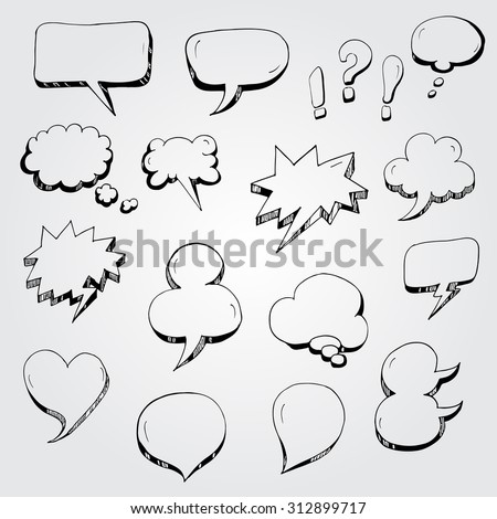 Hand drawn cartoon speech bubbles in round, square, heart and other shapes - stock vector