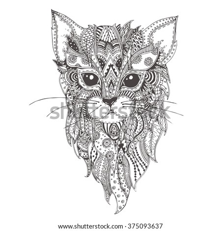 Hand-drawn cat with ethnic floral doodle pattern. Coloring page - zendala, design for spiritual relaxation for adults, vector illustration, isolated on a white background. Zen doodles. - stock vector