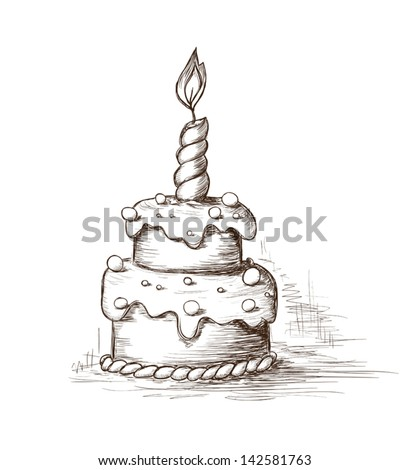 Hand drawn celebration cake - stock vector