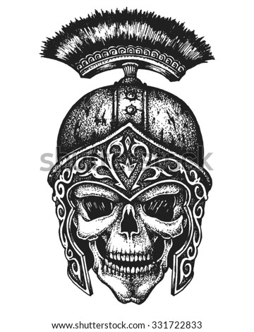 Hand drawn centurion skull in galea helmet. Vector illustration - stock vector