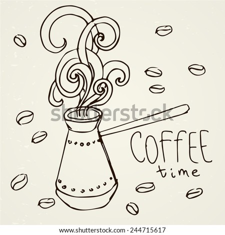 Hand-drawn cezve and coffee beans. Vector sketch. Invitation, greeting card, menu. Good morning! - stock vector