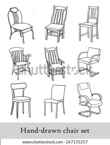 Hand-drawn chair set - stock vector