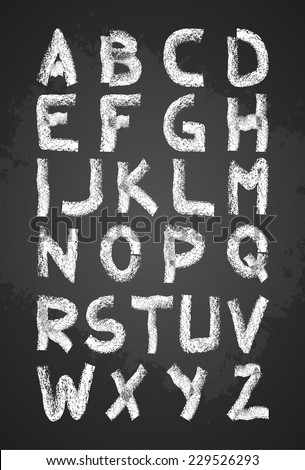 Hand drawn chalk alphabet vector, capital letters, back to school lettering - stock vector