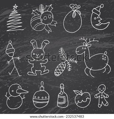 Hand drawn chalk christmas vector - big set hand drawn decorative elements - stock vector