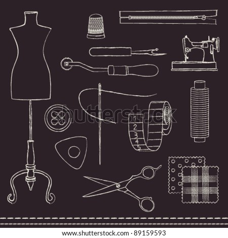 Hand drawn chalk stroked sewing accessories on blackboard - stock vector